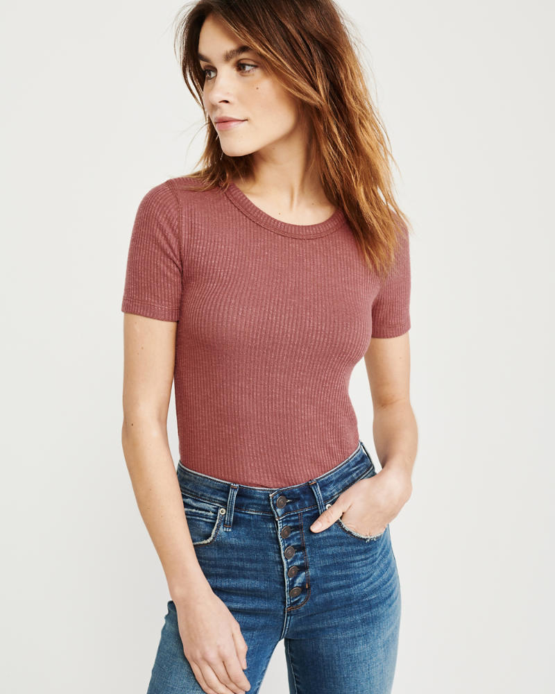 Short Sleeve Ribbed Tee by Abercrombie & Fitch