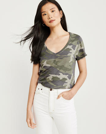 5418778bd8201c Womens T-Shirts. New! Soft A&F V-Neck Tee, OLIVE GREEN CAMO