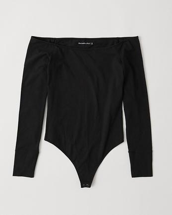 ANFLong-Sleeve Off-The-Shoulder Bodysuit
