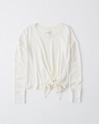 ANFLong-Sleeve Cozy Side-Tie Top