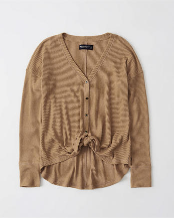 ANFCozy Tie-Front Button-Up