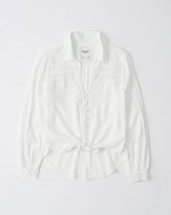 ANFLace-Trim Button-Up Shirt