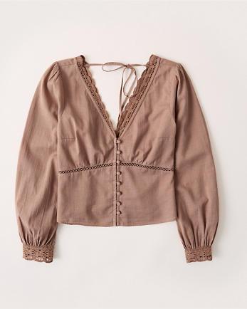ANFLong-Sleeve Lace-Trim Blouse