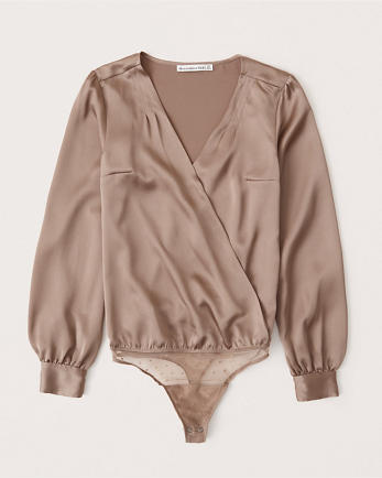 ANFLong-Sleeve Wrap Satin Bodysuit