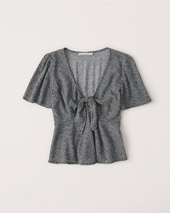 ANFTie-Front V-Neck Tee