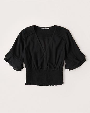 ANFShort-Sleeve Smocked Blouse