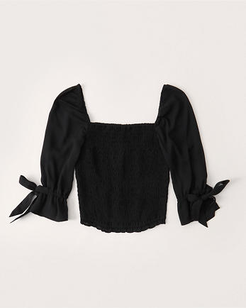 ANFSmocked Puff Sleeve Top