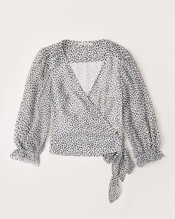 ANFLong-Sleeve Chiffon Wrap Blouse