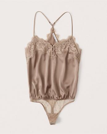 ANFSatin Lace Bodysuit