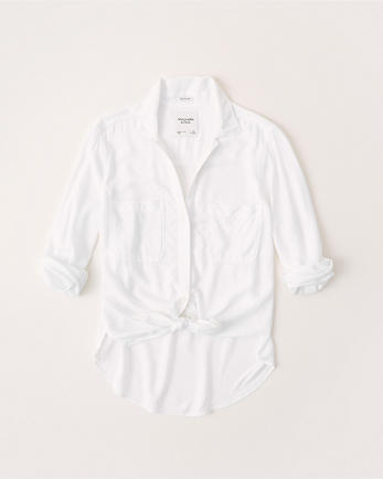 ANFLong-Sleeve Tie-Front Shirt