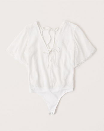 ANFShort-Sleeve Chiffon Bodysuit