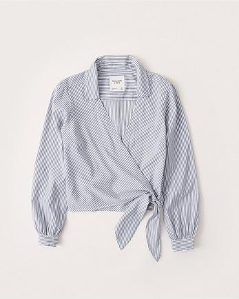 ANFLong-Sleeve Wrap Blouse