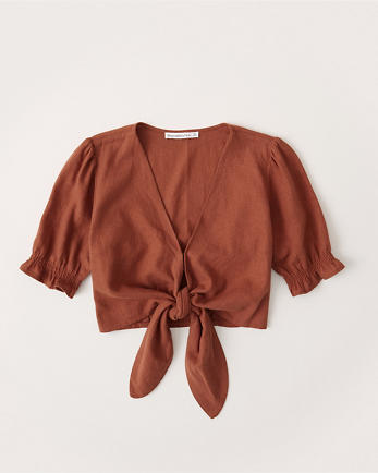 ANFTie-Front Puff Sleeve Top