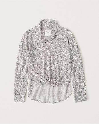 ANFLong-Sleeve Tie-Front Shirt