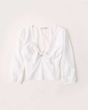 ANFTie-Front V-Neck Shirt