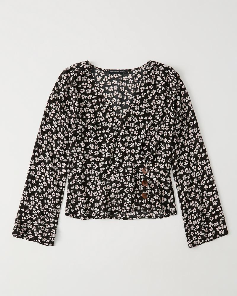 bc0059559db Womens Wrap-Front Button-Up Blouse | Womens Sale | Abercrombie.com