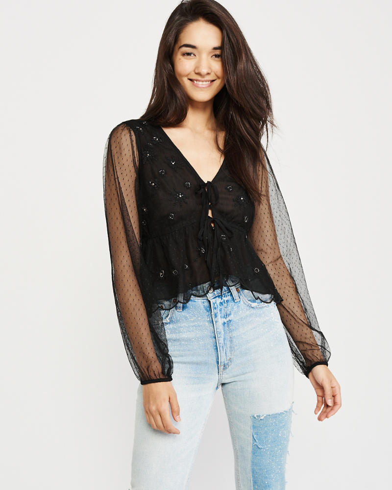 Embellished Tie Front Mesh Top by Abercrombie & Fitch