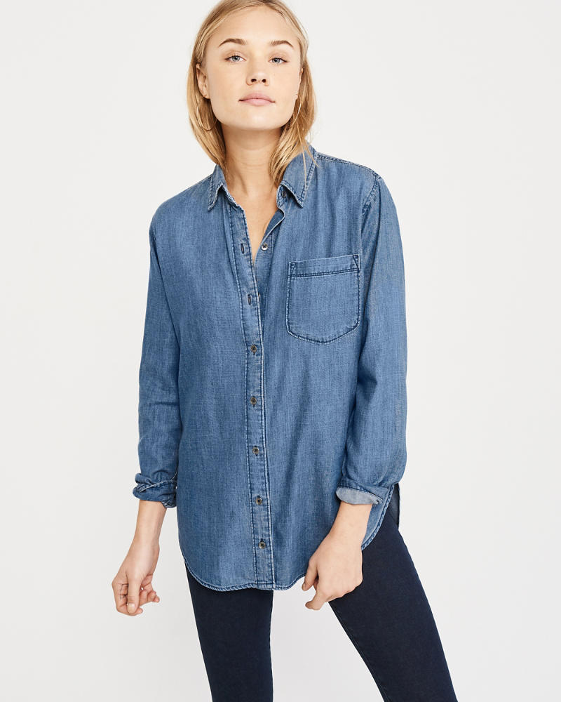 Slim Boyfriend Denim Shirt by Abercrombie & Fitch