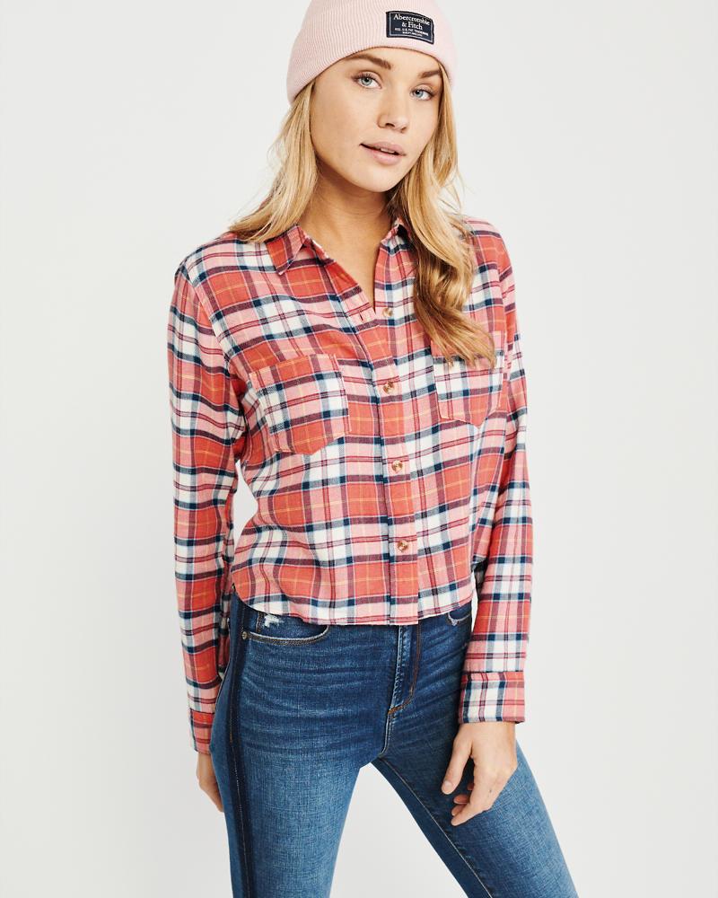 014d6461ffe2d0 Cropped Flannel Shirt