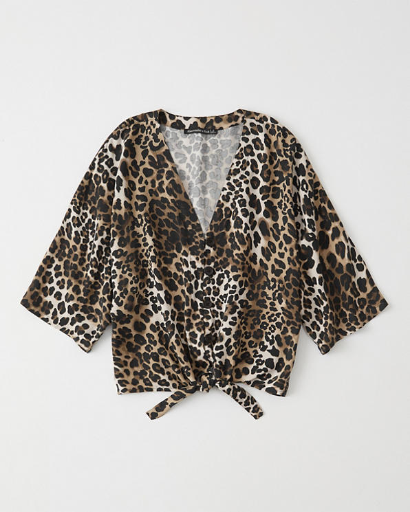 af38b89061e9c4 Womens Leopard Print Tie-Front Blouse | Womens Clearance ...