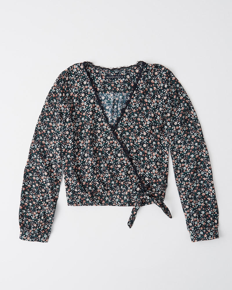 Wrap Front Lace Trim Blouse by Abercrombie & Fitch