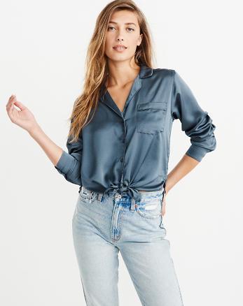 Femmes Chemises et chemisiers. Chemisier boutonné noué sur le devant, BLEU 9896d219b80d