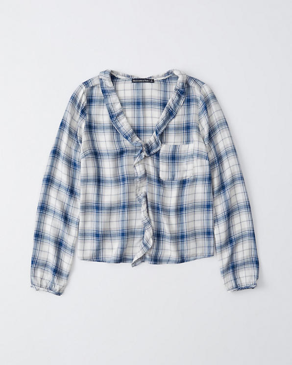 b5201721205604 Womens V-Neck Ruffle Flannel | Womens Clearance | Abercrombie.com