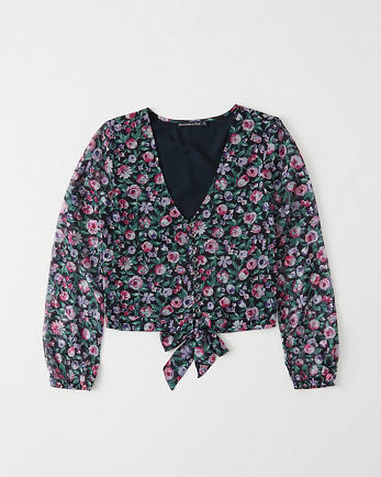 ANFTie-Front Chiffon Blouse