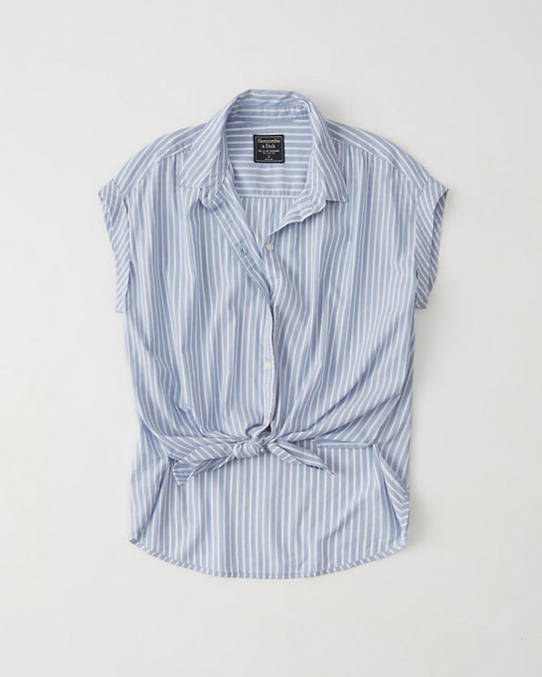 Womens Short Sleeve Tie Front Poplin Shirt Womens 50 60 Off