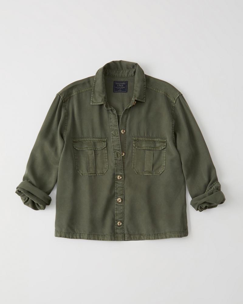cf5903f7055 Womens Button-Up Military Shirt