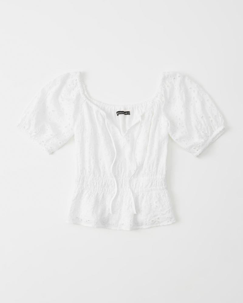 c2a1429b915 Short-Sleeve Eyelet Blouse | Abercrombie.co.jp