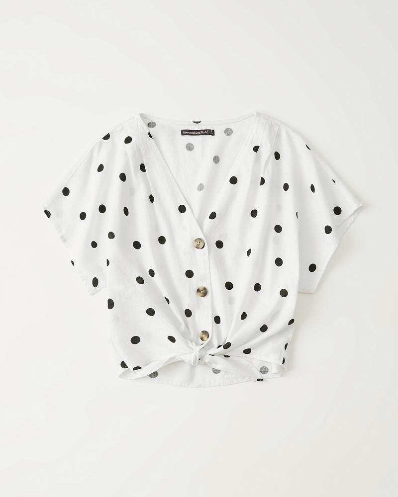 92c02b3f Womens Button-Up Tie-Front Top | Womens Tops | Abercrombie.com