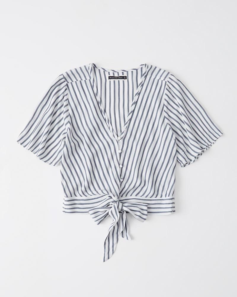 af932666b3e Womens Tie-Front V-Neck Blouse | Womens Tops | Abercrombie.com