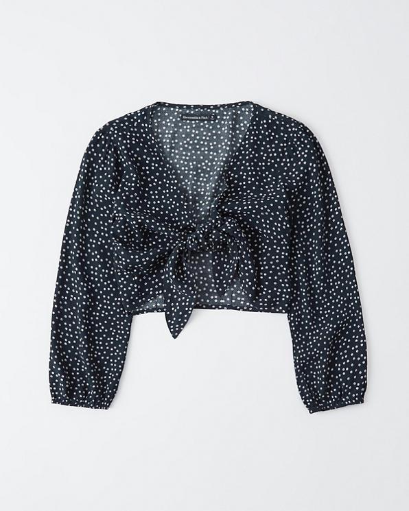9e418eb9a79 Womens Long-Sleeve Tie-Front Top | Womens Sale | Abercrombie.com