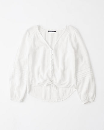 ANFTie-Front V-Neck Blouse