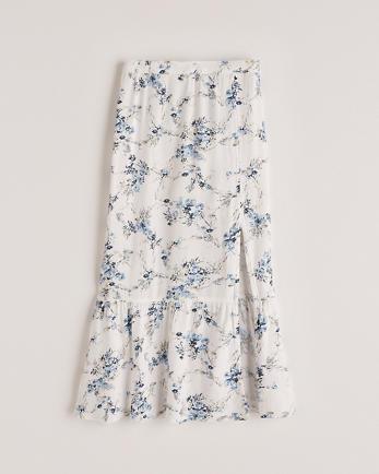 ANFHigh Slit Ruffle Hem Midi Skirt