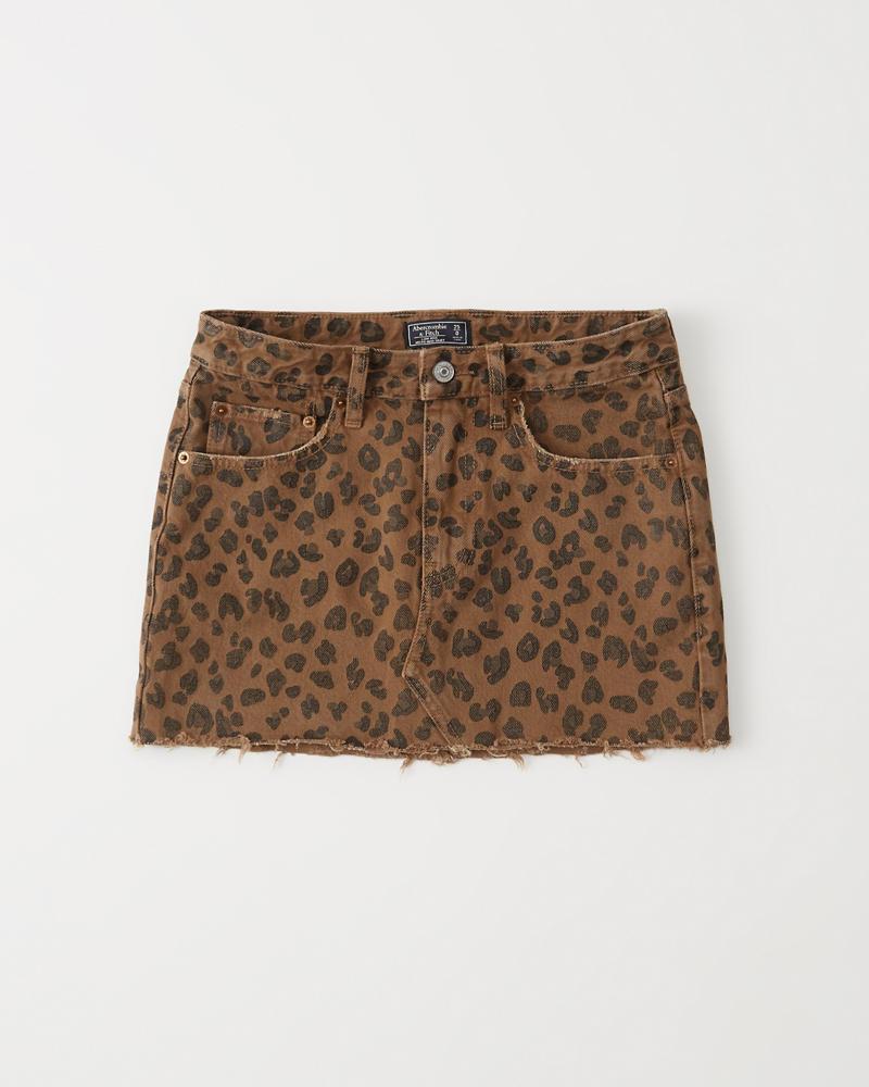 1138d9108bd0c4 Leopard Print Denim Micro Mini Skirt | Abercrombie.co.jp