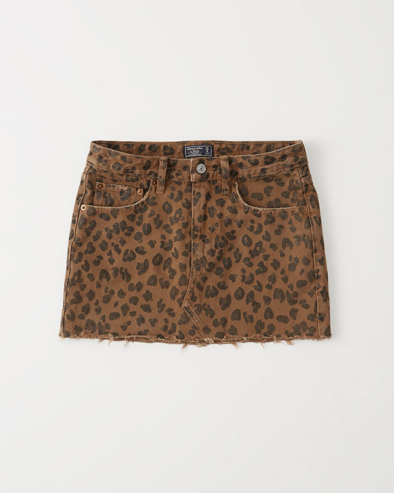 f350f047d9c Womens Leopard Print Denim Micro Mini Skirt | Womens Clearance ...