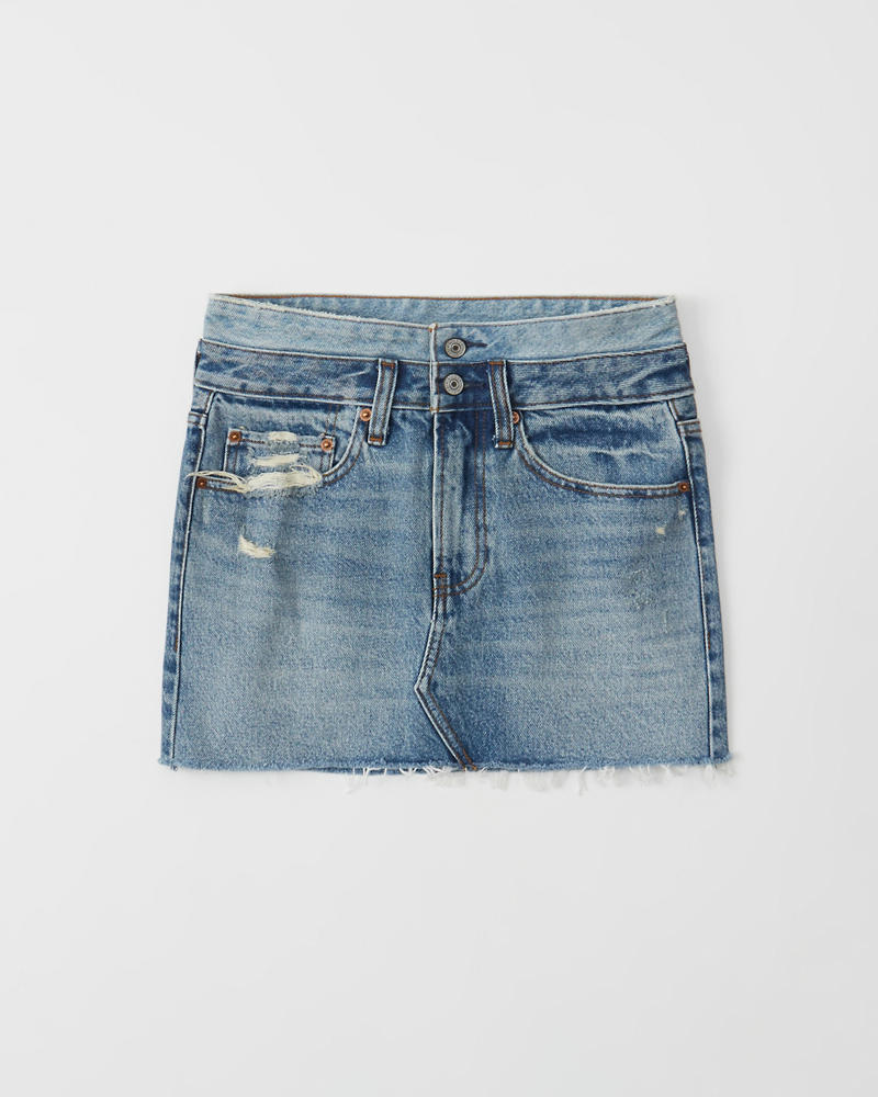 513232d0eb Womens Double Waist Micro Mini Denim Skirt | Womens Bottoms ...