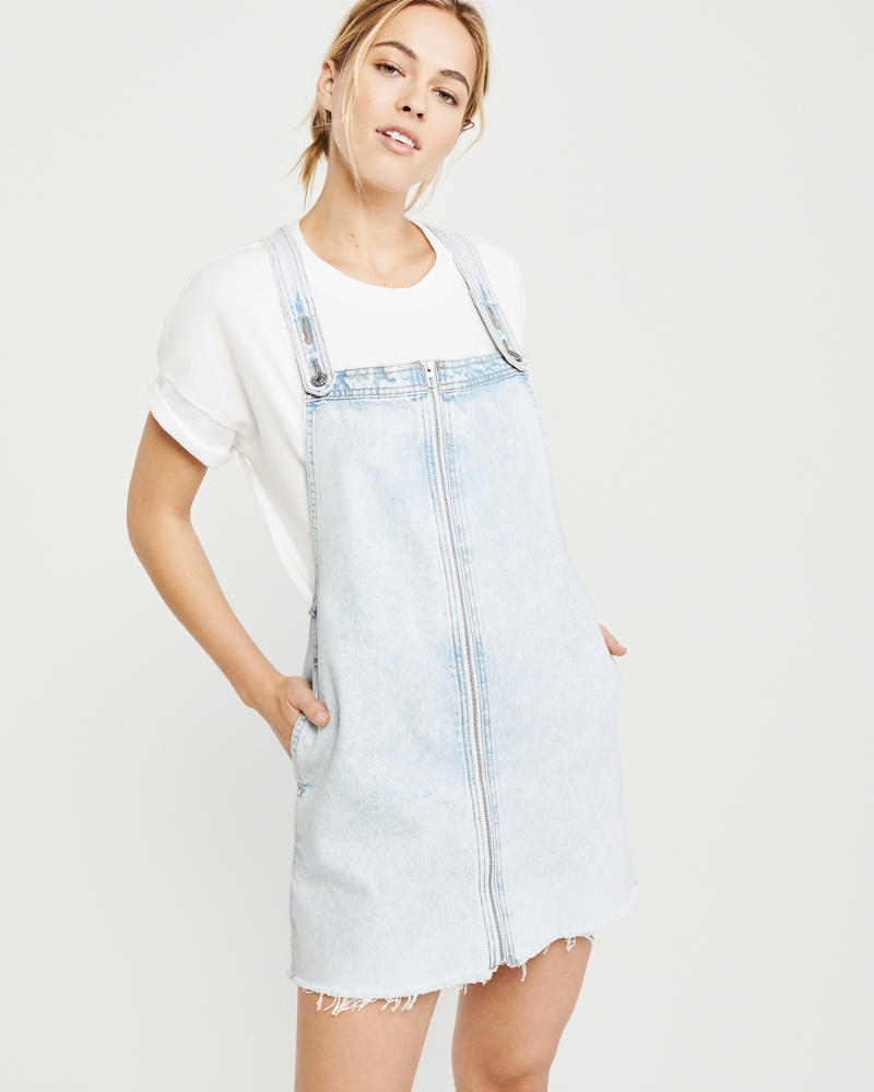 Bleached Overall Dress by Abercrombie & Fitch