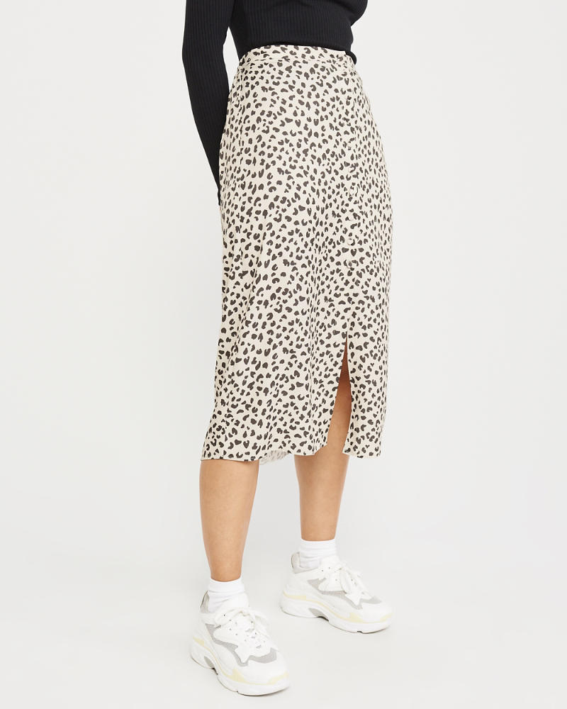 Button Front Leopard Midi Skirt by Abercrombie & Fitch