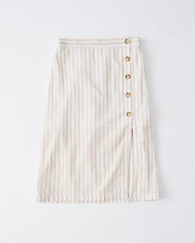 d1948282b Mujer Falda de largo medio de lino con botones | Mujer Liquidación ...