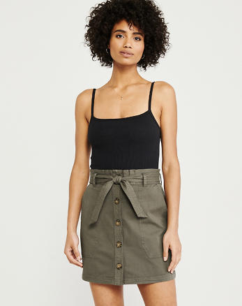 94f2719bdc8 Utility Button-Up Skirt, OLIVE GREEN