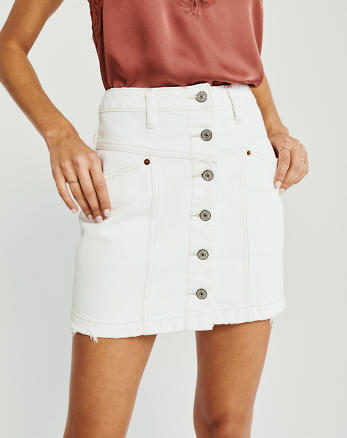 ce7e68c4d4b183 Womens Skirts. New! Button-Up Denim Mini Skirt, WHITE
