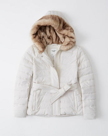 ANFBelted Stretch Puffer Jacket
