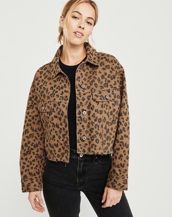 f49e9df244b Cropped Leopard Print Girlfriend Denim Jacket