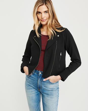 78c308b631 Womens Coats & Jackets. Drapey Moto Jacket, BLACK