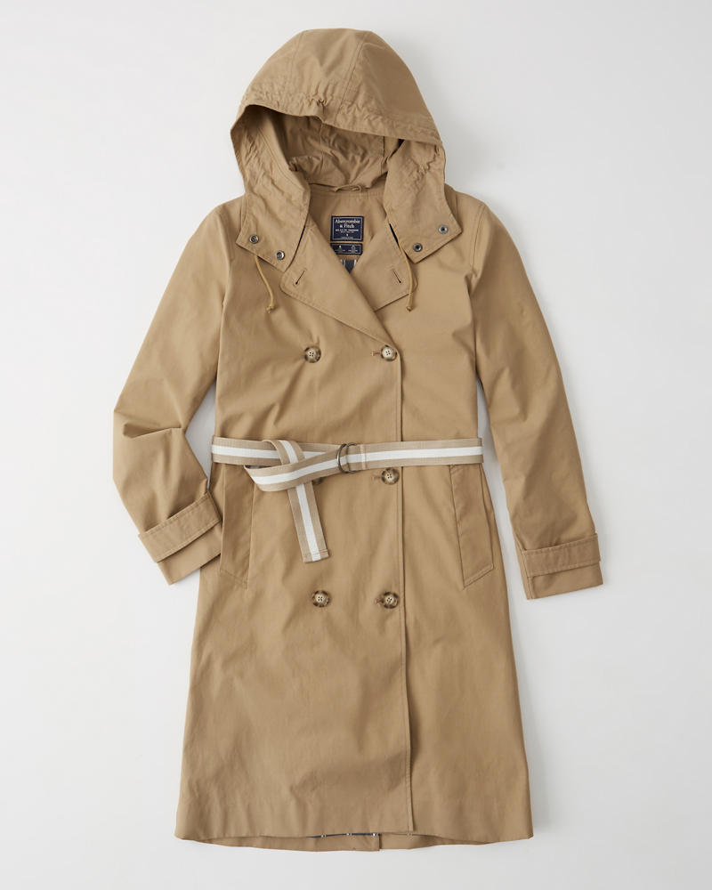 697c4aa28eab7 Womens Hooded Trench Coat