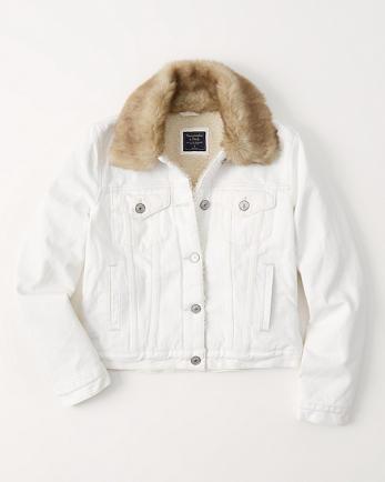 ANFFaux Fur Collar Denim Jacket