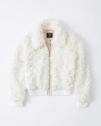 ANFCropped Faux Fur Bomber Jacket